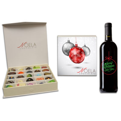 Christmas ornament chocolate box wine