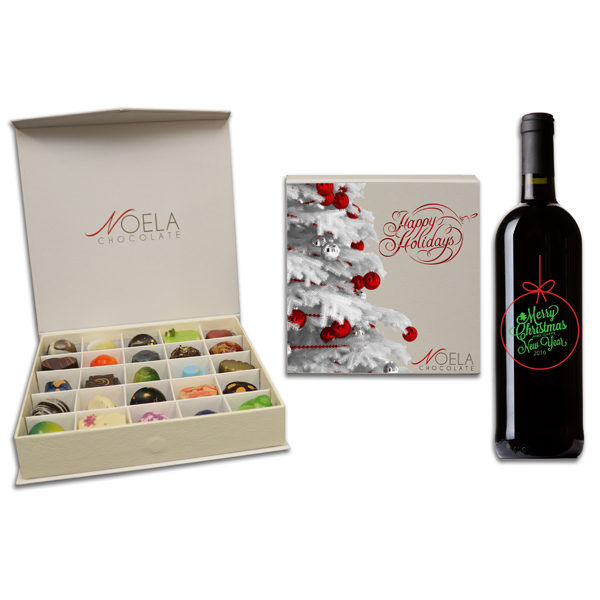 christmas tree chocolate box with wine