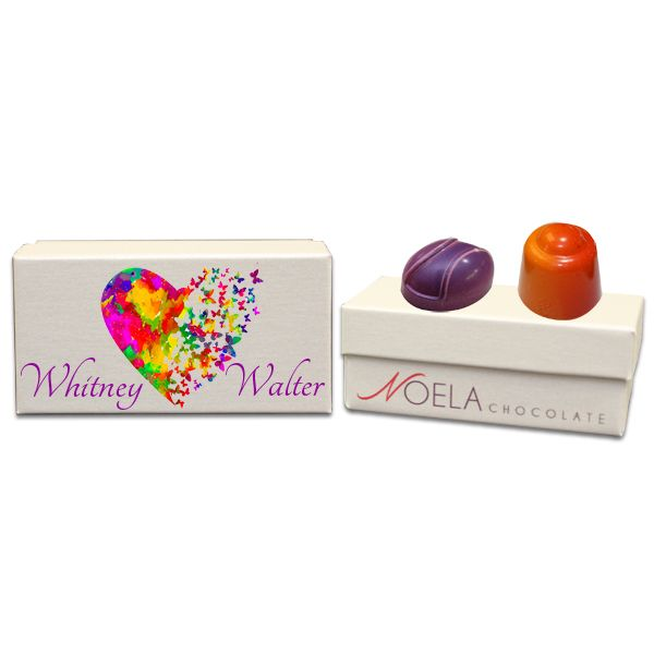 Colored Heart and Butterflies Wedding Gift Box