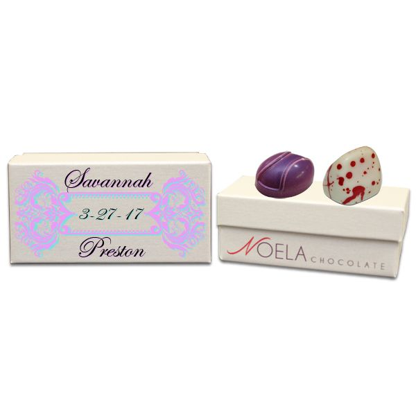 Ornmental Purple Border Wedding Gift Box